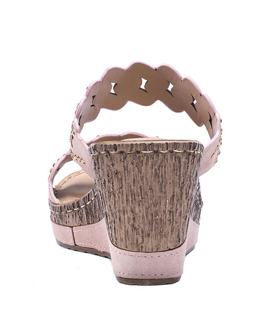 Adella Two Strip Wedge Women Sandals Blush