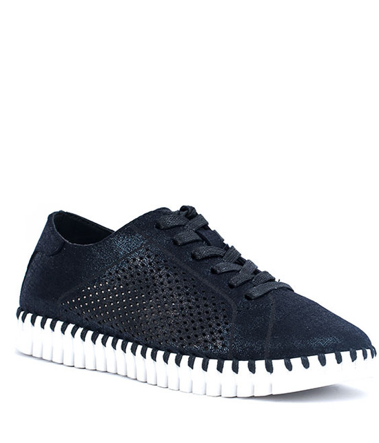 Lex Women Lace Sneaker With Laser Cut MF Black