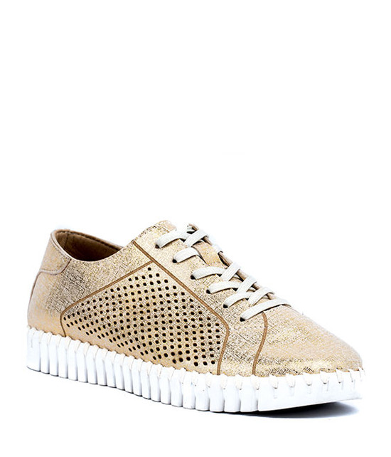 Lex Women Lace Sneaker With Laser Cut MF Gold