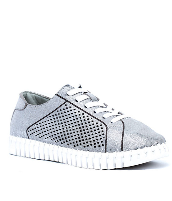 Lex Women Lace Sneaker With Laser Cut MF Silver