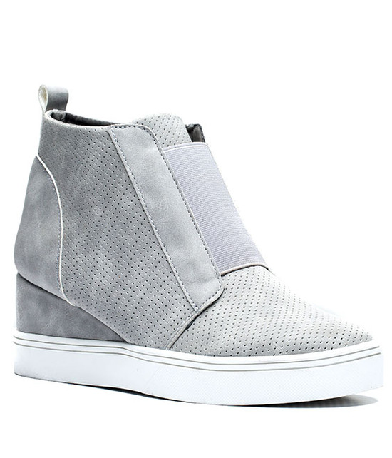 Raja New Women Wedge Sneaker Grey