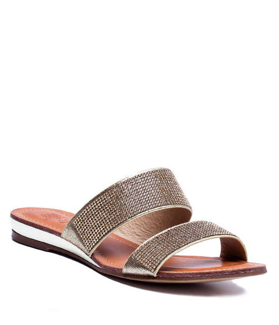 MANAROLA RHINESTONE TWO SLIDE SANDALS ROSE GOLD