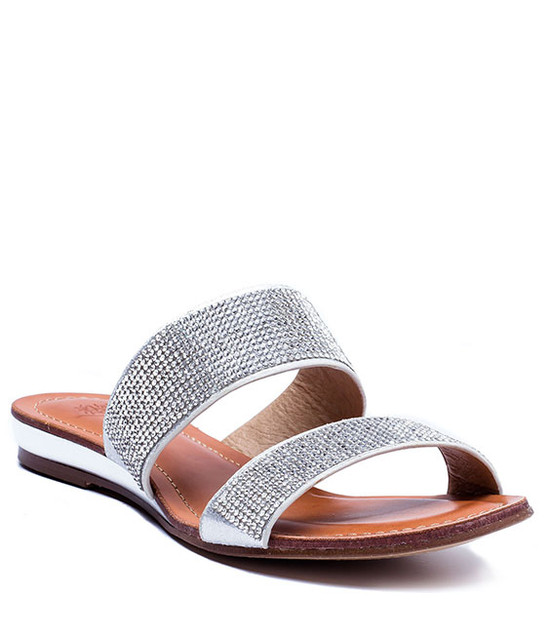 MANAROLA RHINESTONE TWO SLIDE SANDALS SILVER