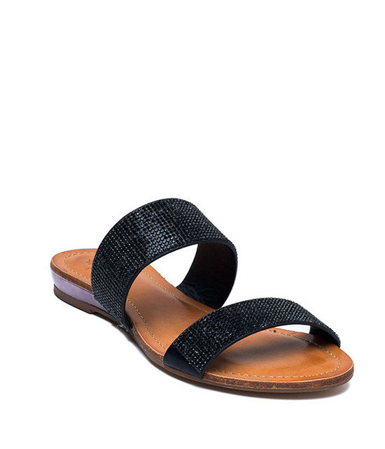 MANAROLA RHINESTONE TWO SLIDE SANDALS BLACK