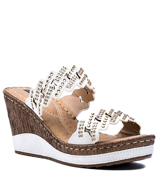 Adella Two Strip Wedge Women Sandals White