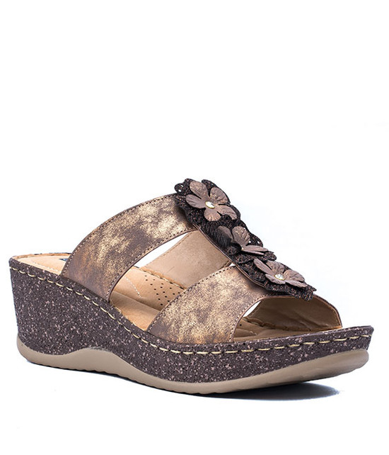 LECIA SLIP-ON WOMEN WEDGE SANDALS BRONZ