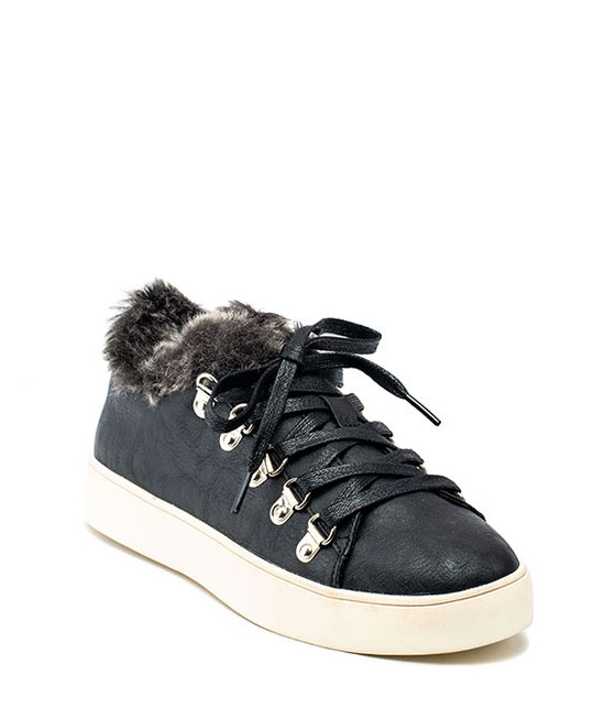Korine Sneakers Faux Fur Black