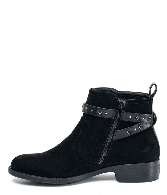 Cassidy Ankle Buckle Strap Booties Black