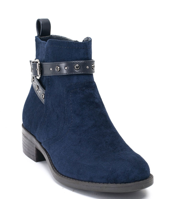 Cassidy Ankle Buckle Strap Booties Blue