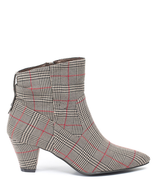 Levi Plaid High Heel Bootie in Taupe