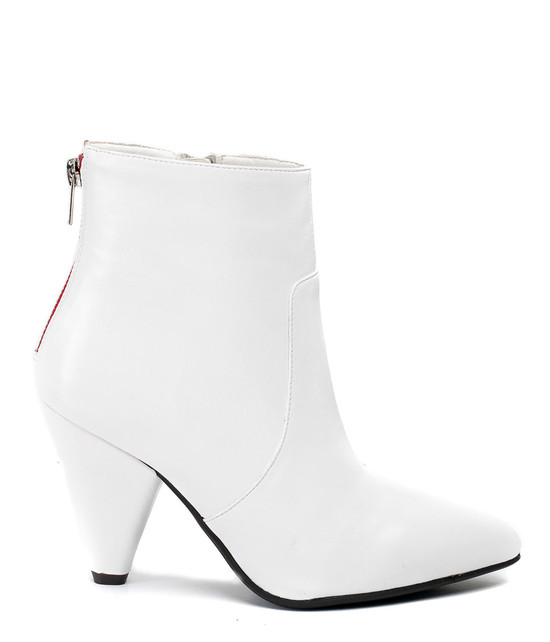 Dion Zip Up High Heel Bootie in White