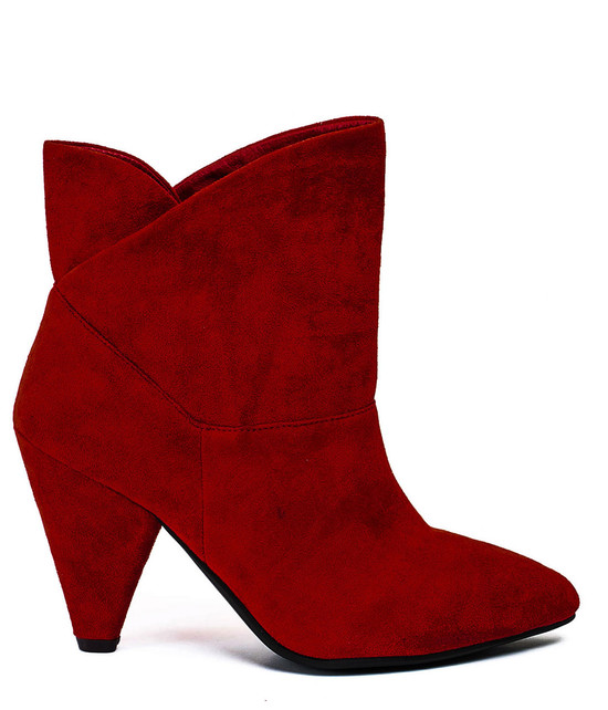 Gc Shoes Flores Faux Suede Pyramid Cone Heel Red