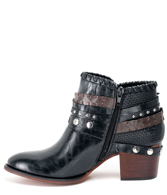 Bliss Ankle Triple Buckle Bootie With Studs Black