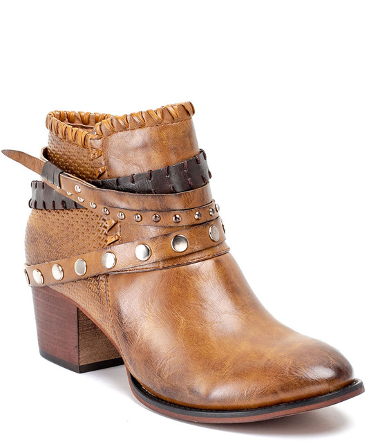 Bliss Ankle Triple Buckle Bootie With Studs Tan