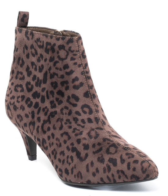Aden Leopard Ankle Bootie in Brown