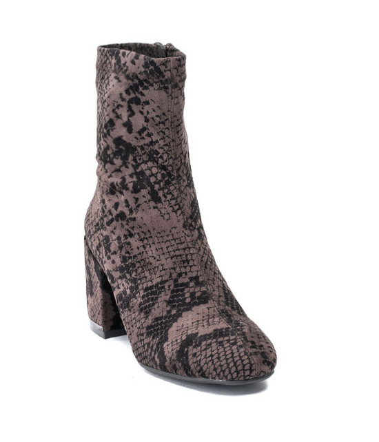 Penny Snake Skin Bootie in Taupe