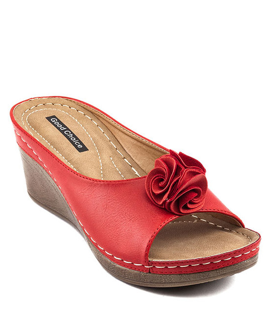 Sydney Red Slip On Wedge