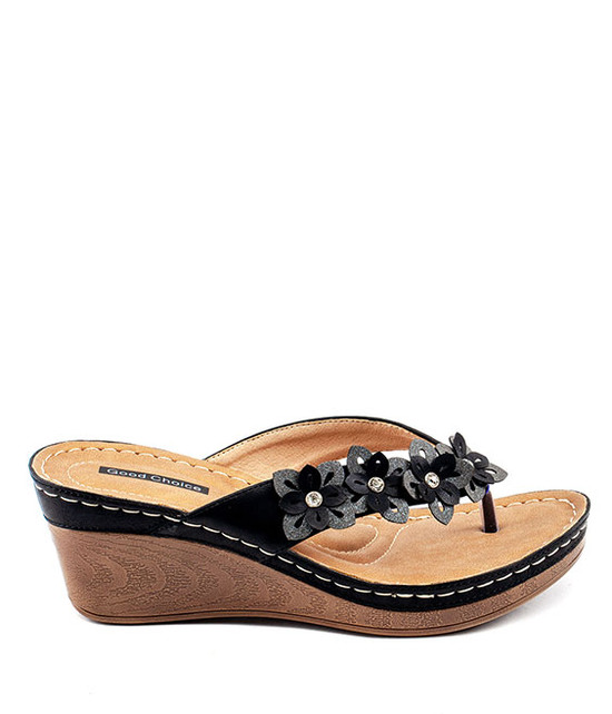 Rachel Slip On Wedge  Sandal With Leaf Detail Black