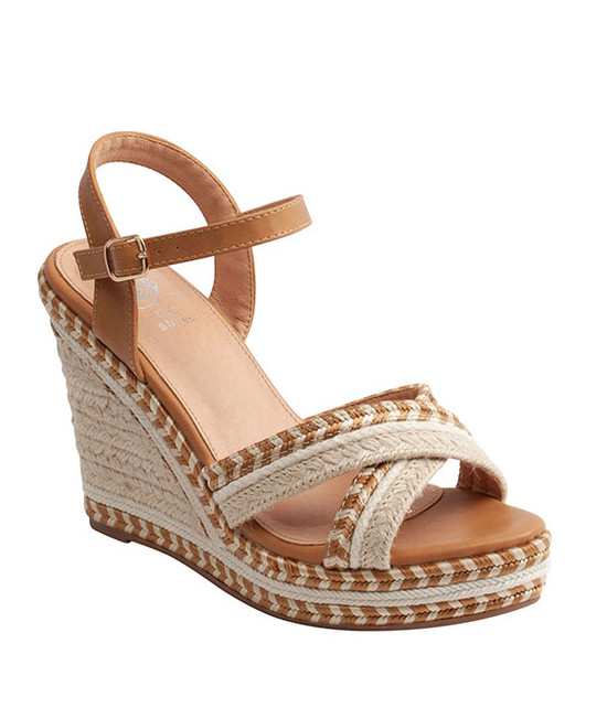 Beverly Ankle Straps Wedge Sandal Tan