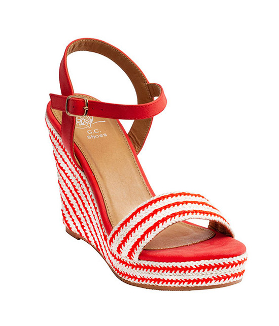 Stella Ankle Straps Wedge Sandal Red