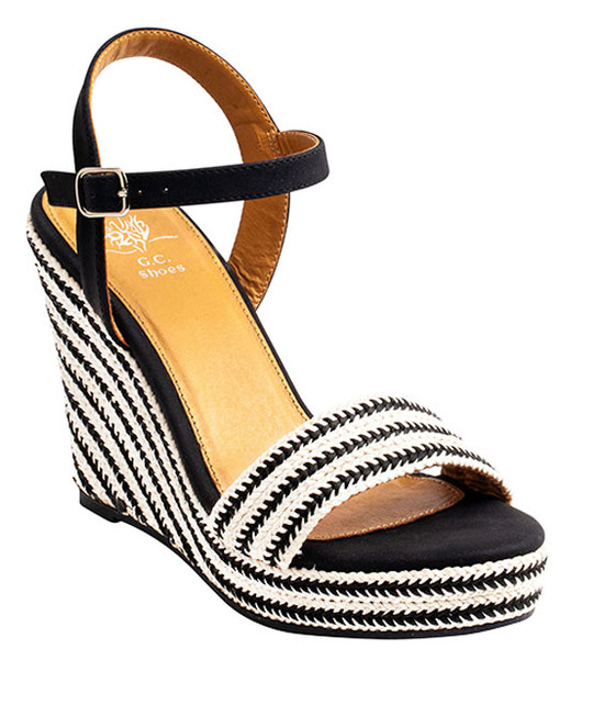 Stella Ankle Straps Wedge Sandal Black