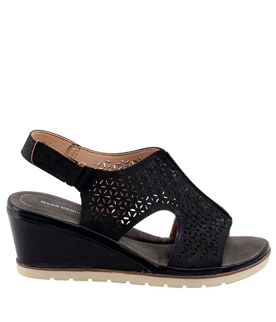 Crissy Wedge Sandal in Black