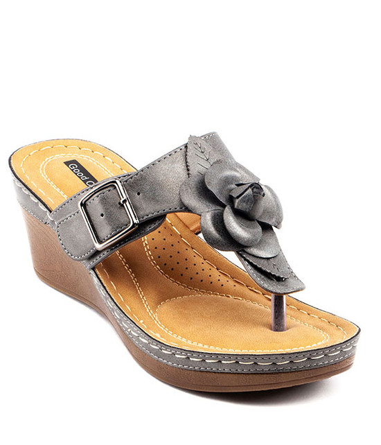 Flora Low Wedge Sandal in Pewter