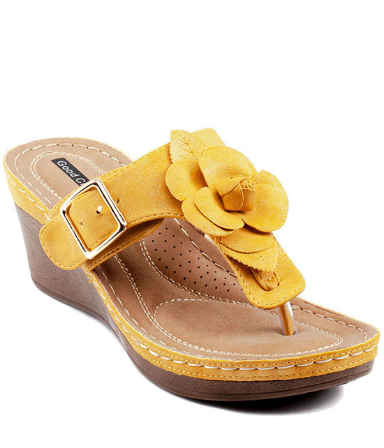 Gc Shoes Flora Comfort Low Easy Slip On Sandal Yellow