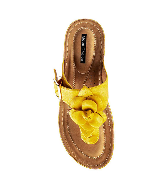 Flora Low Wedge Sandal in Yellow