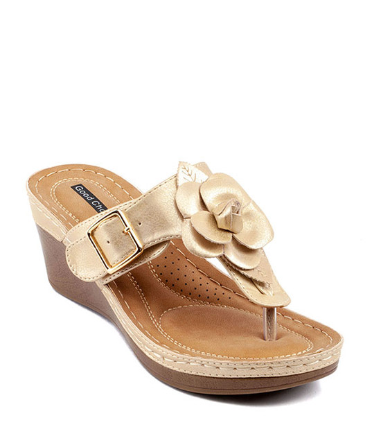 Flora Low Wedge Sandal in Gold