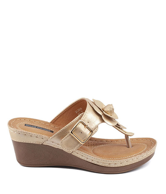 Gc Shoes Flora Comfort Low Easy Slip On Sandal Gold