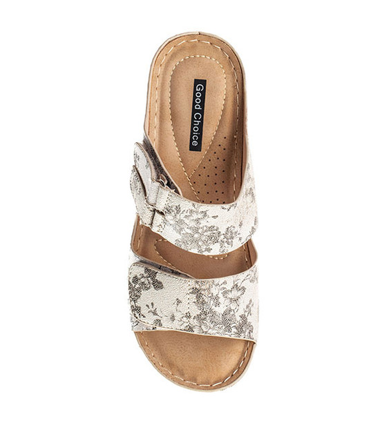 Doreen Slip On Sandal in White Floral