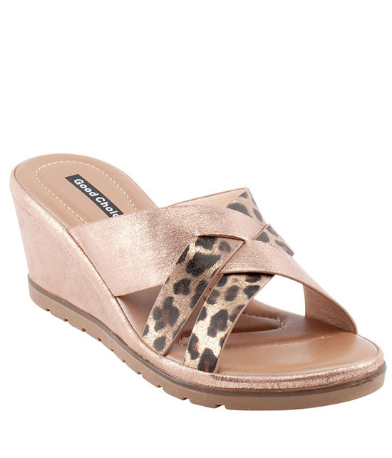 Ibiza Low Wedge Sandal in Rose Gold