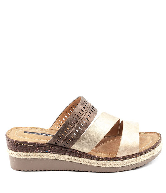 Lupe Slip - On Sandal By Gc. Shoes Multi Brown