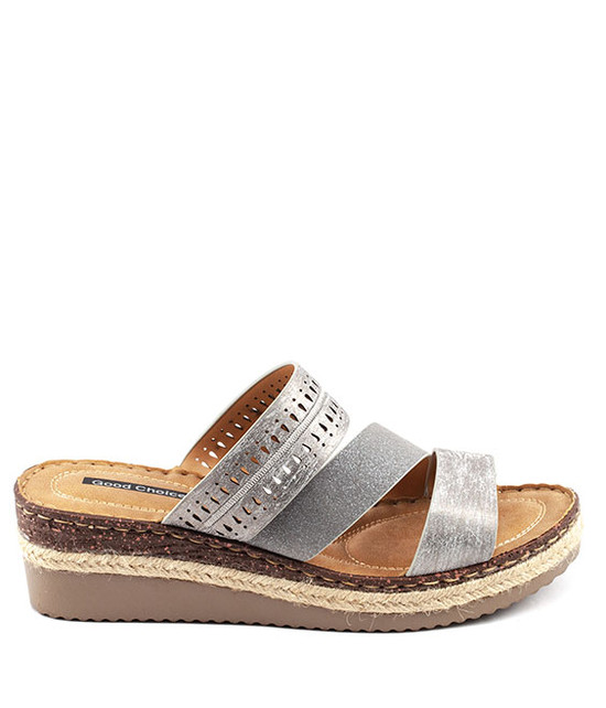 Lupe Slip - On Sandal By Gc. Shoes Silver