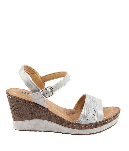 Ross Wedge Sandal By Gc. Shoes Silver
