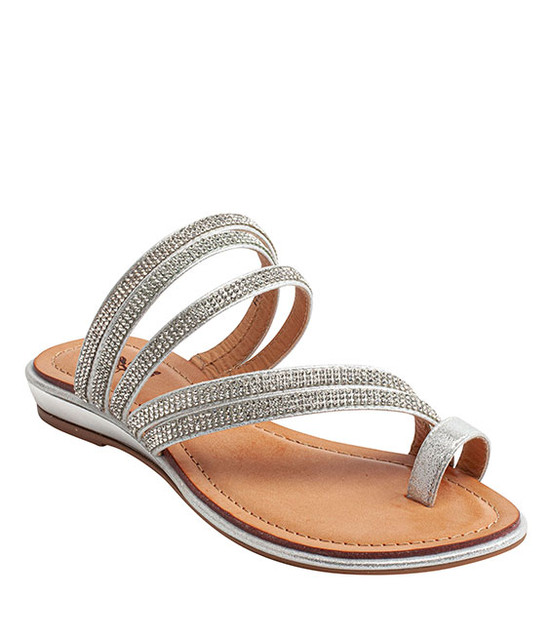 Harmonie Slip-On Rhinestone Sandal By Gc. Shoes Silver