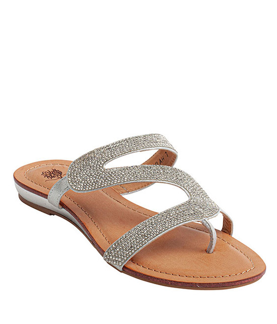 Nylah Slip-On Rhinestone Sandal By Gc. Shoes Silver