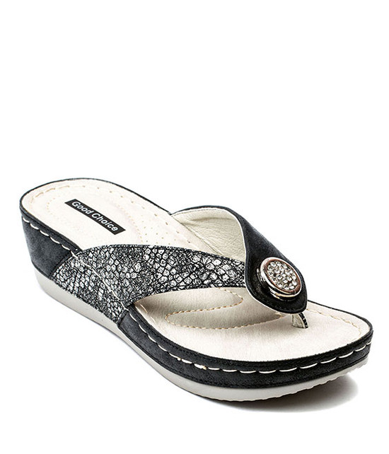Dafni Slip On Sandals in Black