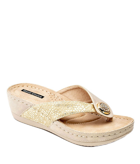 Dafni Slip On Sandals in Gold