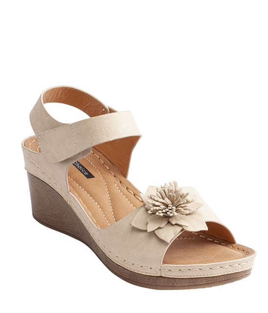 Yulia Ankle Stripe Wedge Sandal By Gc. Shoes Natural