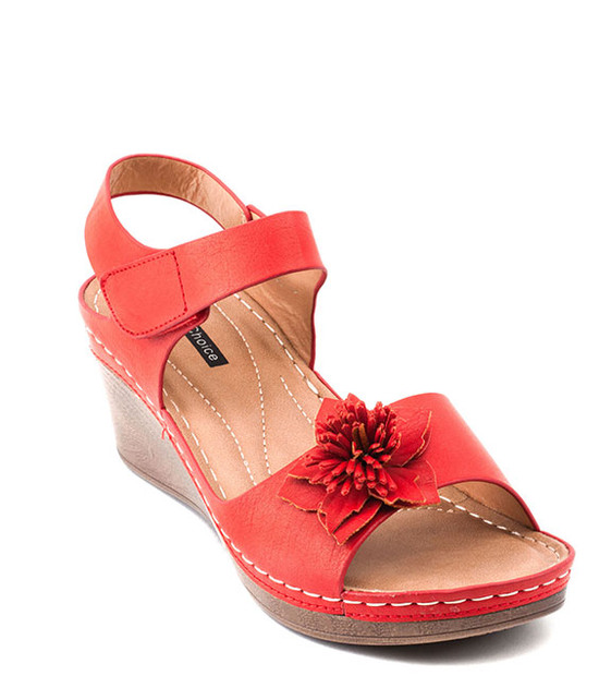 Yulia Ankle Stripe Wedge Sandal By Gc. Shoes Red