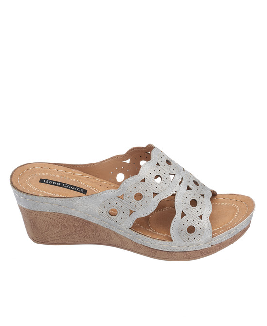April Wedge Sandal in Silver