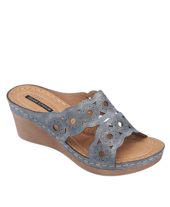 April Wedge Sandal in Pewter