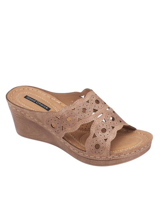 April Wedge Sandal in Rose Gold