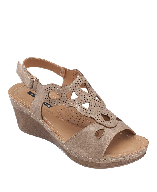 Paulette Wedge Sandal in Gold