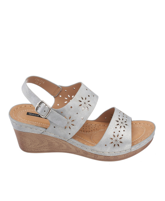 Cynthia Wedge Sandal in Pewter