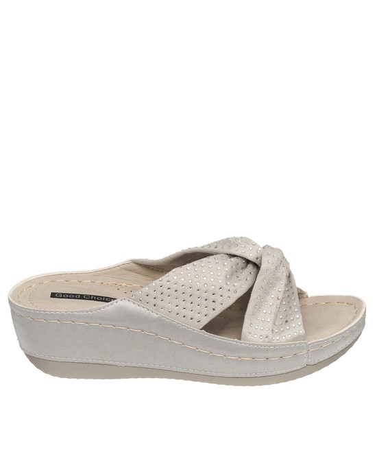 Glenna Wedge Sandal in Grey