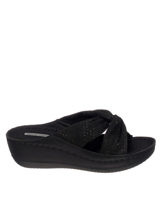 Glenna Wedge Sandal in Black