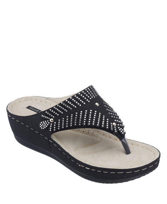 Virginia Wedge Sandal in Black